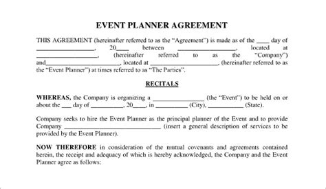 event planner agreement template event contract template 16 free word excel pdf