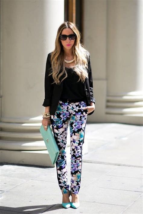 floral pants  clutch bag  black shirt pictures