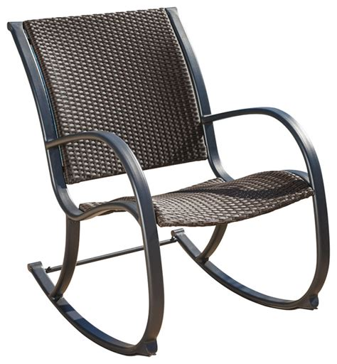 Rocking Garden Chair Leann Outdoor Wicker Rocking Chair Brown Contemporary Outdoor Rocking Chairs By