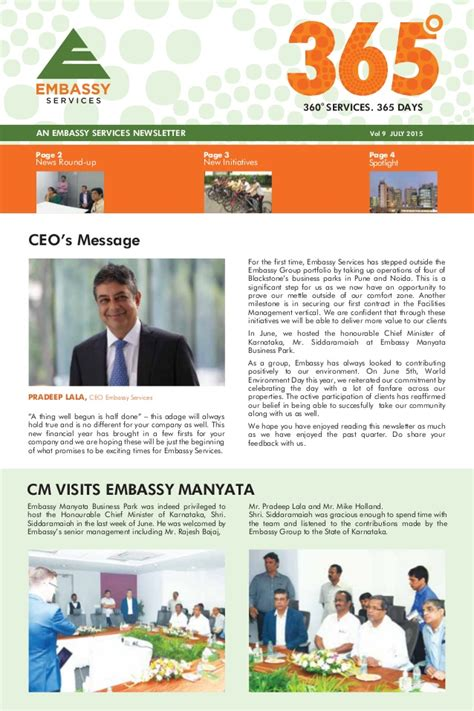 Embassy Newsletter Embassy Services Newsletter July 2015