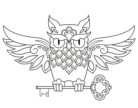 key tattoo png owl with key tattoo coloring page coloringcrew com