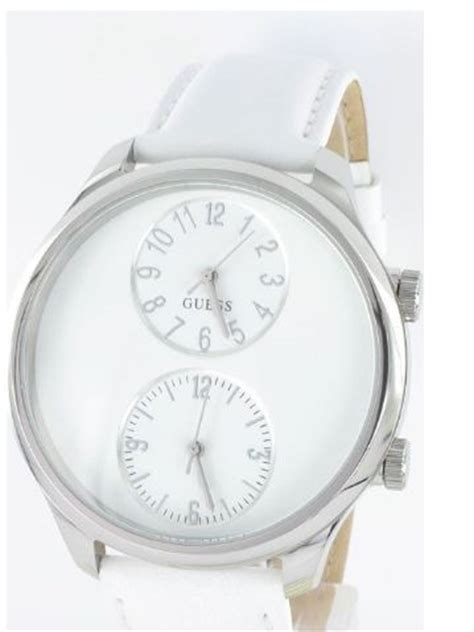 Guess Dualtime Leather Gold 1 s watches brand new guess white leather white dual time w95070g1
