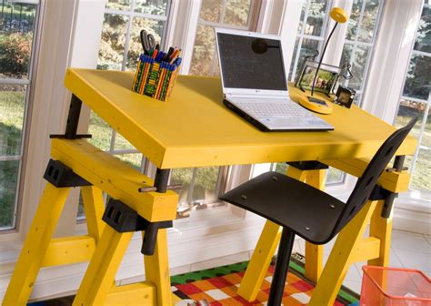 sawhorse desk with drawers 18 diy sawhorse desk plans guide patterns