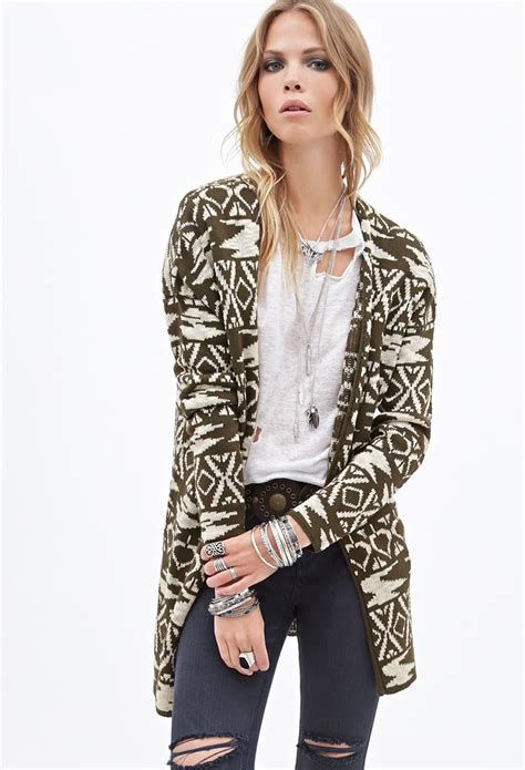 Tribal Pattern Cardigan Forever 21   forever 21 pattern cardigan in green lyst