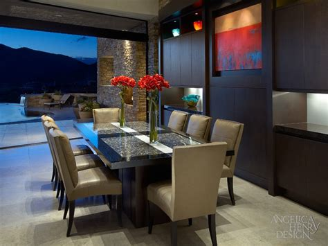 mediterranean living room with dark wood retractable glass contemporary desert home interior design by angelica henry