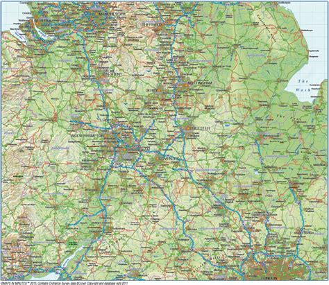 map of central uk central county road and rail map with regular