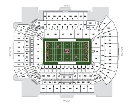 kyle field section map seating chart 12th man foundation