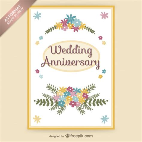 Wedding Anniversary Free Cards by Wedding Anniversary Floral Card Vector Free
