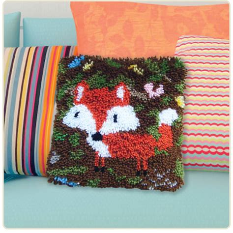 make a rug kit hobbycraft latch hook kit 13 x 13 in cushion cover rug wall decoration ebay