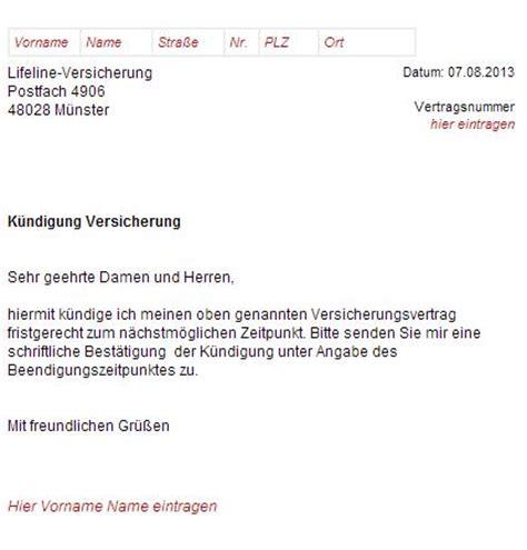Kfz Versicherung K Ndigen Fristgerecht by Lifeline Versicherung K 252 Ndigungsschreiben Downloaden