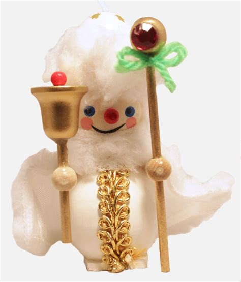 German Handmade Ornaments - xwg5 0465 13 steinbach white santa with staff wooden