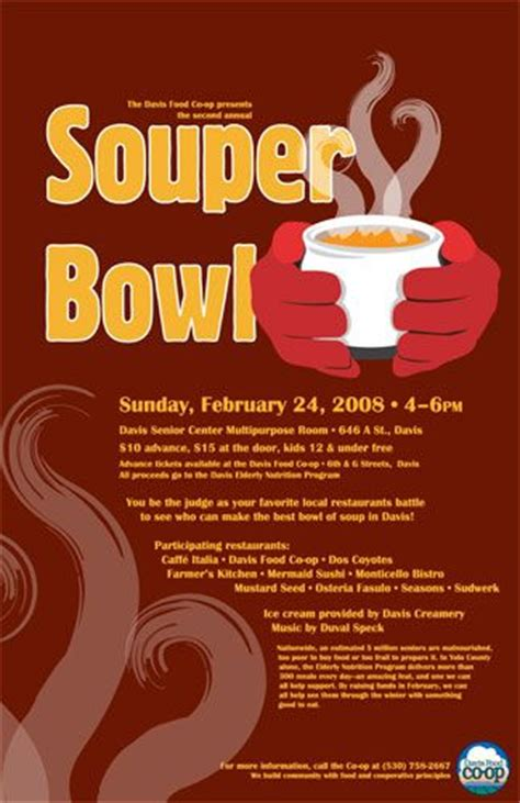 Donation Letter For Soup Kitchen Souper Bowl Poster Poster Created For Community Fundraising Event The Event Was Held In The