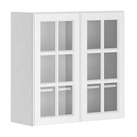 White Glass Door Kitchen Cabinets Fabritec Ready To Assemble 30x30x12 5 In Birmingham Wall Cabinet In White Melamine And Glass