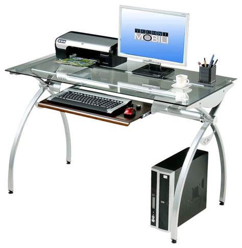 Modern Glass Computer Desk Techni Mobili Glass Top Computer Desk In Clear Modern Desks And Hutches By Beyond Stores