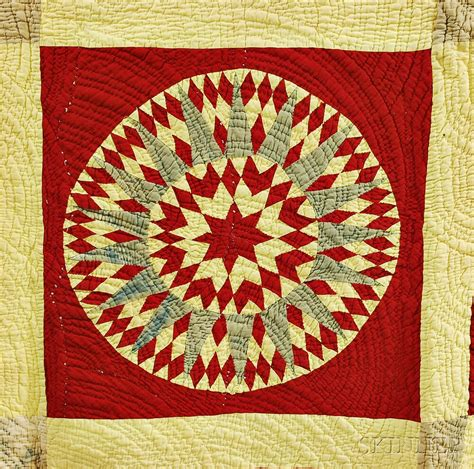 Yellow Patchwork Quilt - quot mariner s compass quot variant yellow and patchwork quilt