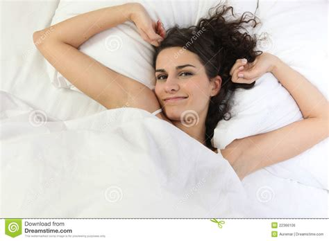 i laid in bed brunette laid in bed royalty free stock image image 22366106
