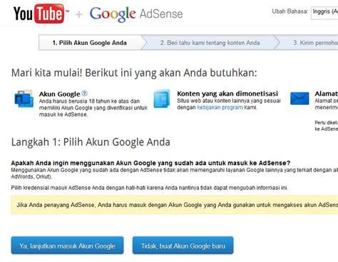 adsense youtube indonesia cara daftar google adsense via youtube seomob