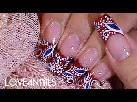 imagenes de uñas en blanco y rojo u 241 as color rojo patron bandana tutorial youtube