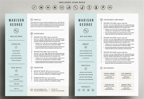 2 page resume template 50 best cv resume templates of 2018 design shack
