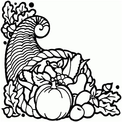 autumn coloring pages horn of plenty
