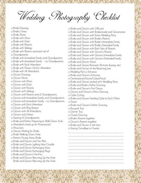 Wedding Photography Checklist by Wedding Photography Checklist Wedding