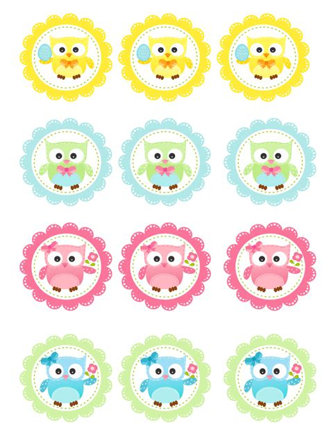 Printable Owl Cupcake Toppers | free spring owl cupcake toppers printable onion rings