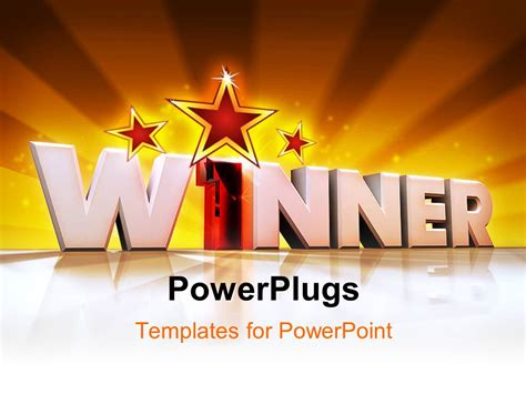 Powerpoint Template Word Winner In 3d With Number One With Rays Rising From Background 31414 Award Winning Powerpoint Templates