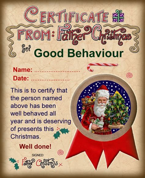santa claus certificate template santa certificate of behaviour rooftop post printables