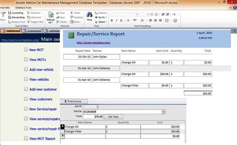maintenance database access template car and vehicle maintenance access database management