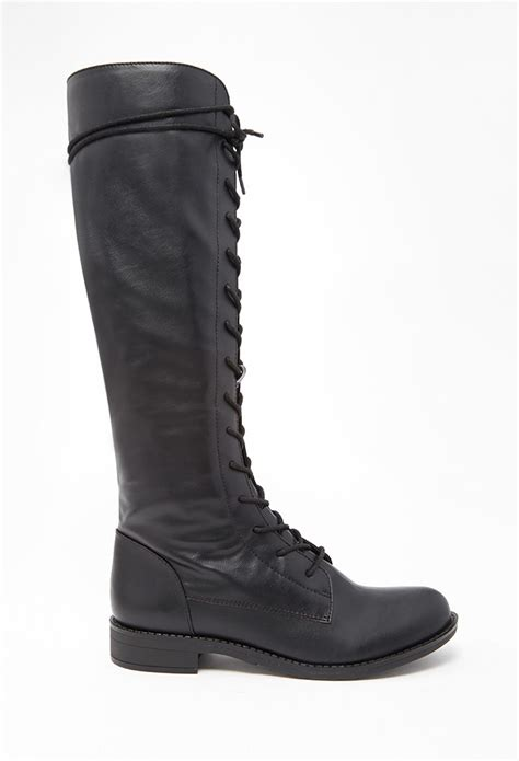 forever 21 shoes boots forever 21 lace up faux leather boots in black lyst