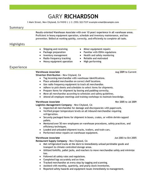 warehouse associate resume exles created by pros