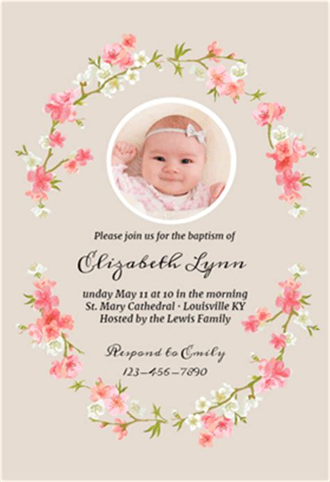 free christening invitation cards templates floral baby free printable baptism christening