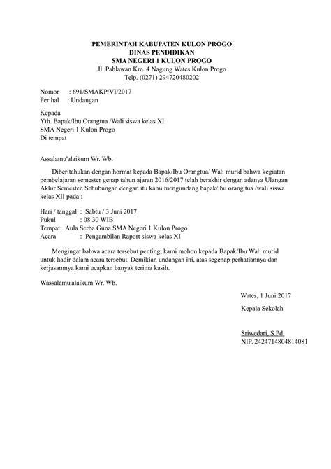 Contoh Surat Undangan Formal Gmim by Contoh Surat Formal Dari Sekolah