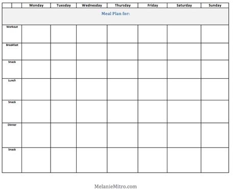 blank meal planner templates committed to get fit melanie mitro s weekly clean eating