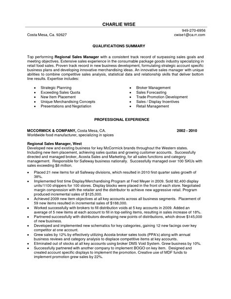 resume sample executive summary template example sales marketing