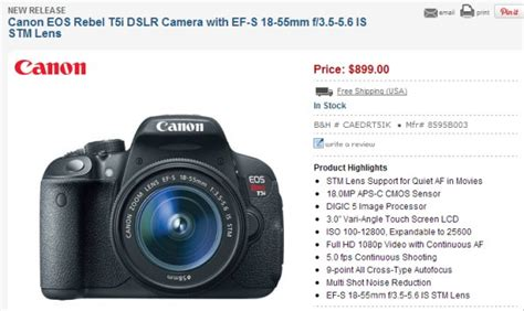 Canon Eos 700d Rebel T5i canon eos rebel t5i eos 700d in stock and shipping daily news