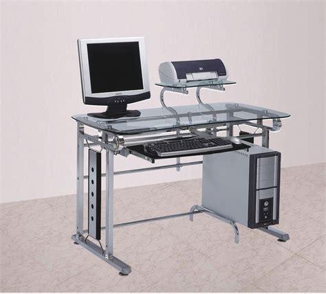 metal computer workstation desk computer desk workstation chrome glass modern finish steel