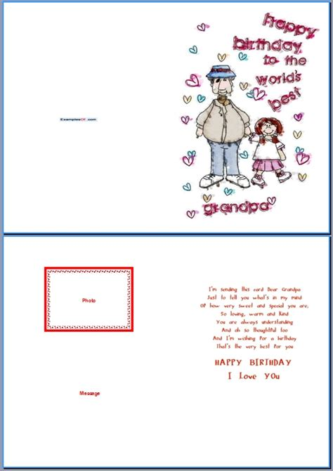 grandfather birthday card template exle of birthday card for world s best