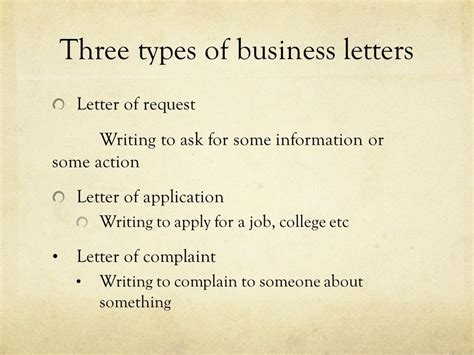 three types of business letters the letter sle