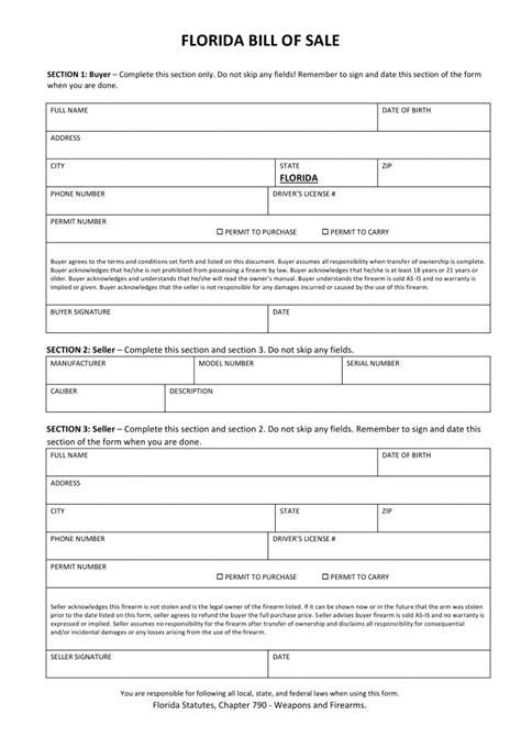 firearm bill of sale form free florida firearm bill of sale form pdf docx