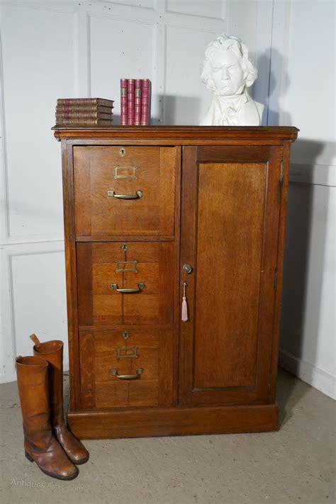 Large Edwardian Oak Filing Cabinet Office Cupboard