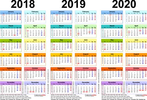 multi year calendar template multi year calendar 2018