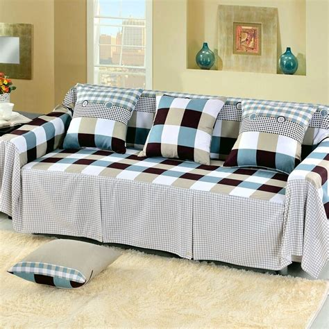 Cover For L Shaped by Check Cotton Blend Slipcover Sofa Cover Tusl Protector For