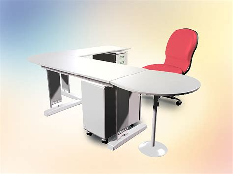 table l 3d model free l shaped office desk with chair 3d model 3dsmax autocad