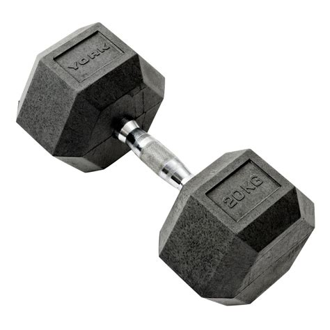 Dumbell 20 Kg York 20kg Rubber Hex Dumbbell