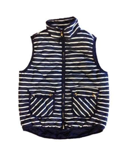 Lust List Shearling Puffer Vest by Seaside Navy Striped Puffer Vest New New Arrivals Vests