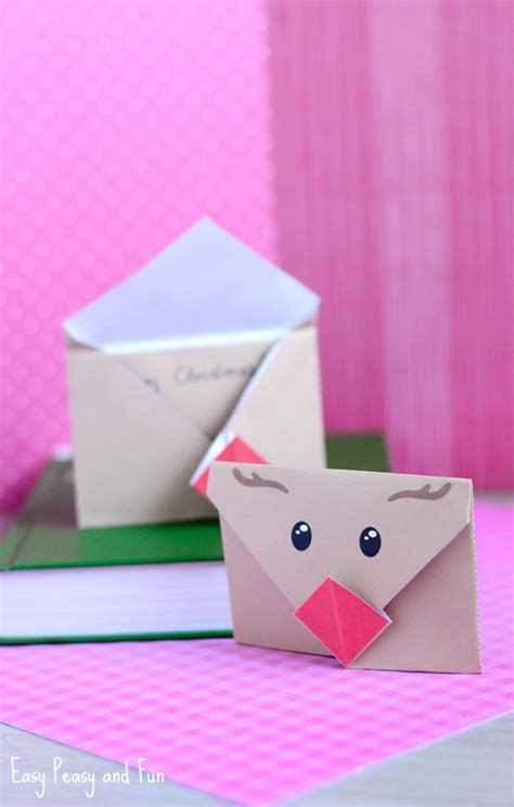 printable origami christmas paper printable reindeer origami envelope easy peasy and fun