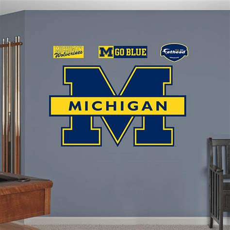 home decor stores michigan michigan wolverines blue logo wall decal shop fathead