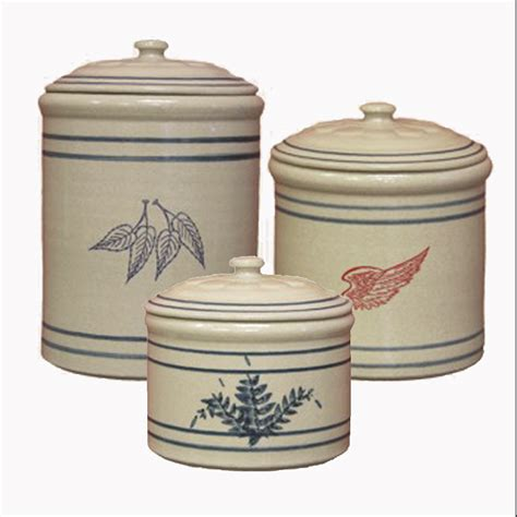 kitchen counter canister sets 3 crock canister set wing stoneware pottery