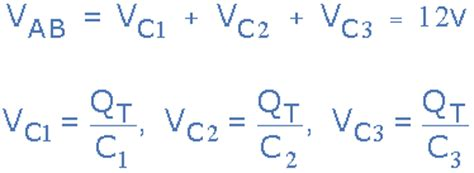voltage drop across series capacitor capacitors in series